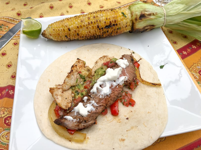beef fajita plus grilled corn
