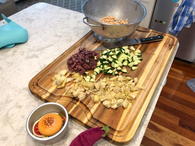 ingredients for pesto pasta salad