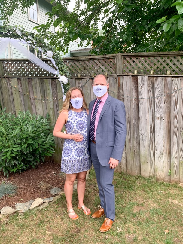 masked up for a wedding