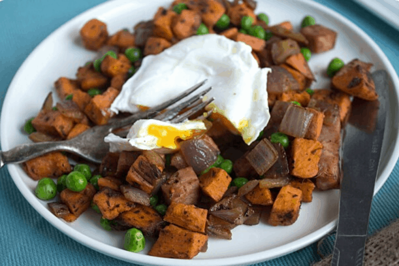 poached egg and sweet potato hash
