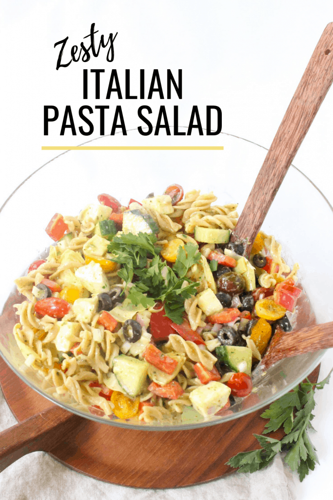 zesty Italian pasta salad in a bowl with homemade dressing