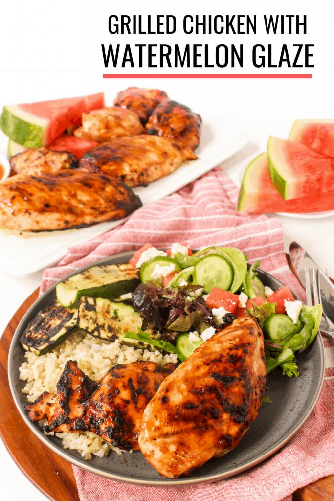 grilled watermelon chicken with balsamic glaze