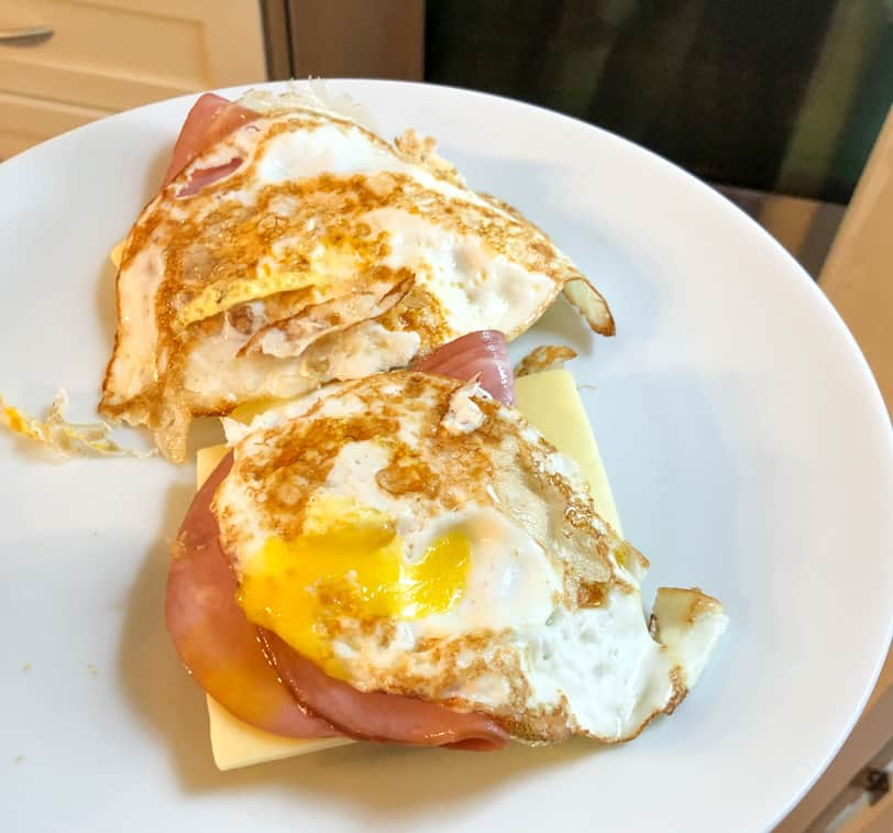 ham egg and cheese on an english muffin