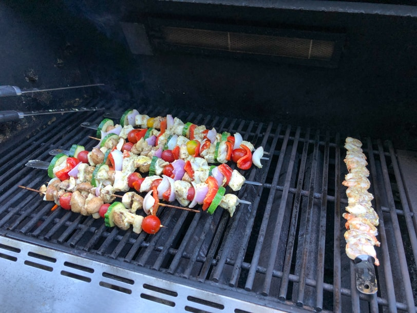 chicken and vegetable and shrimp kabob skewers