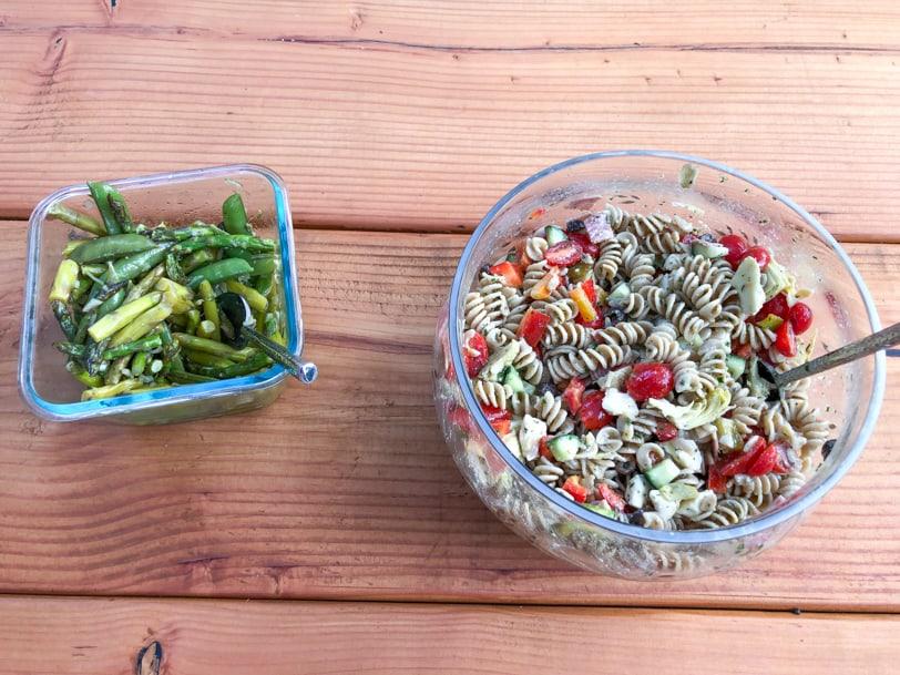 Italian pasta salad and veggies