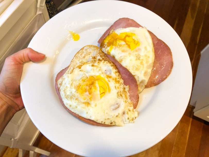 english muffin with ham egg and cheese