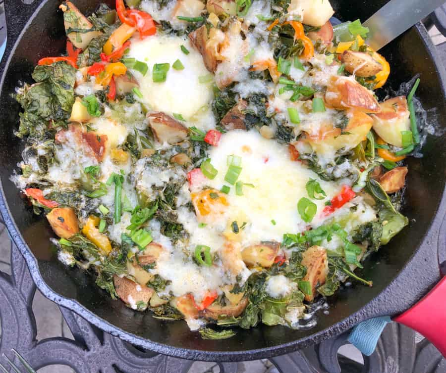 kale and potato hash with eggs and cheddar