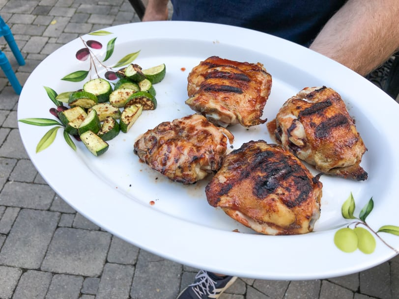 watermelon glazed chicken with grilled zucchini