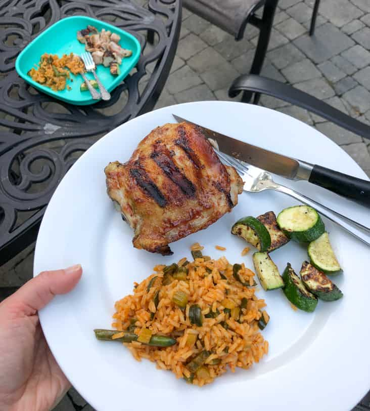 grilled chicken with rice and zucchini