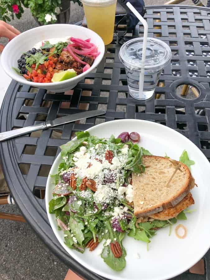 chicken sandwich with beet salad