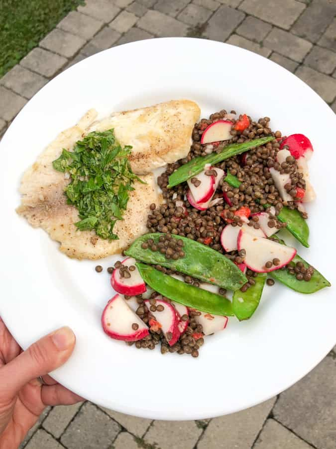 tilapia with lentils and snow peas