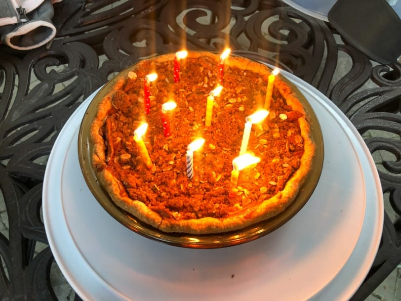 birthday candles in apple pie