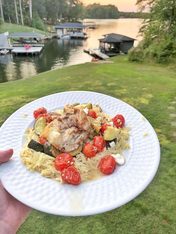 mediterranean chicken with roasted veggies and orzo
