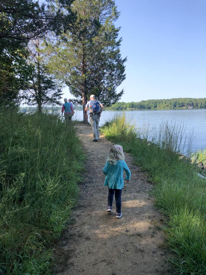 hiking along the water at lake anna state park
