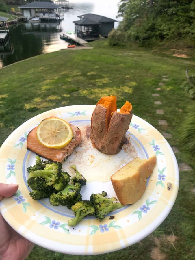 cedar plank lemon salmon with roasted broccoli, cornbread, and sweet potato