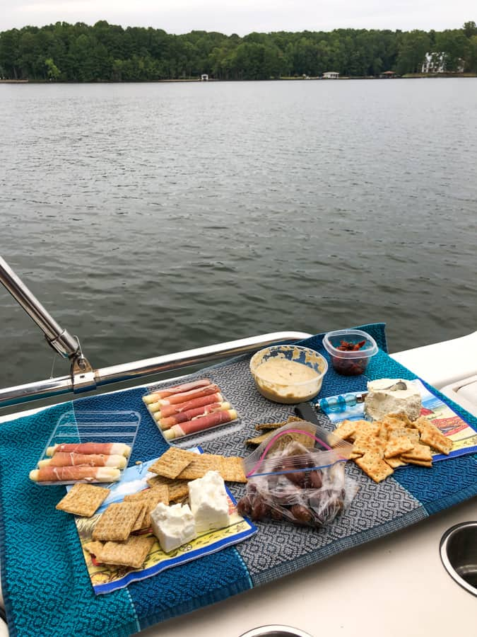 appetizer spread on a boat