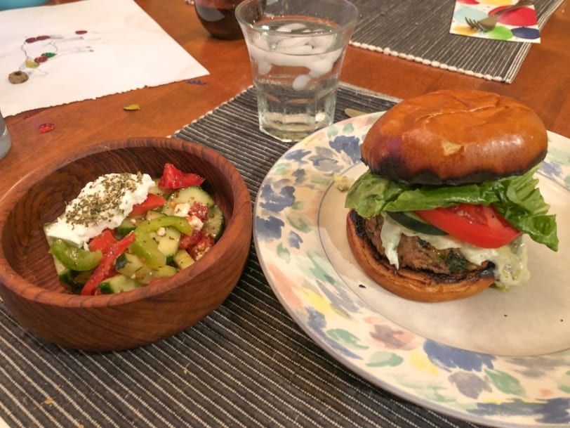 greek turkey burgers with greek side salad