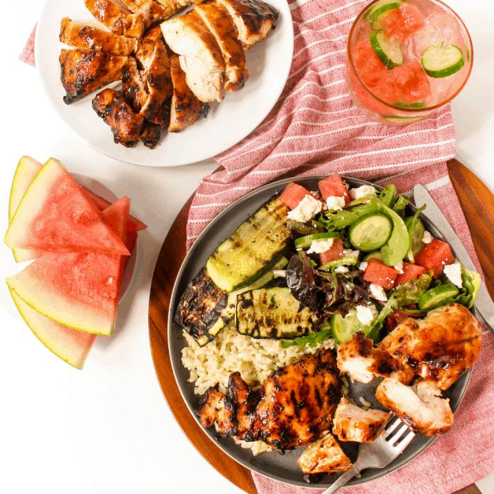 Watermelon Chicken with Balsamic Glaze