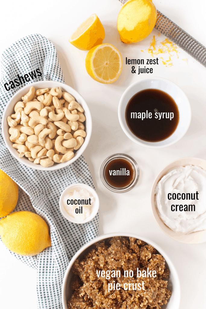 no bake vegan lemon bars ingredients