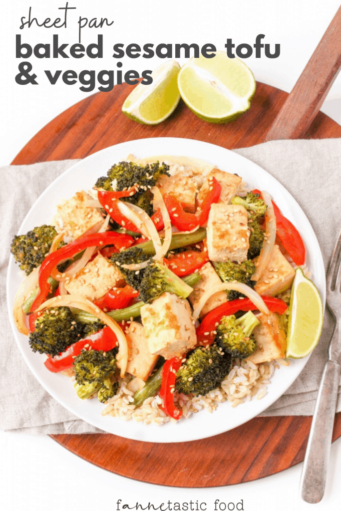 sheet pan tofu dinner: baked sesame tofu and veggies