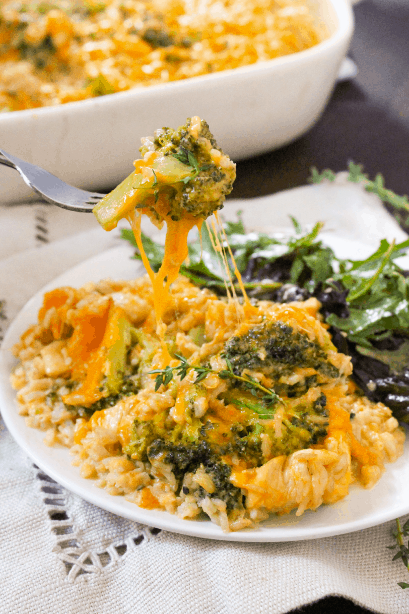 healthy chicken broccoli rice casserole on a plate