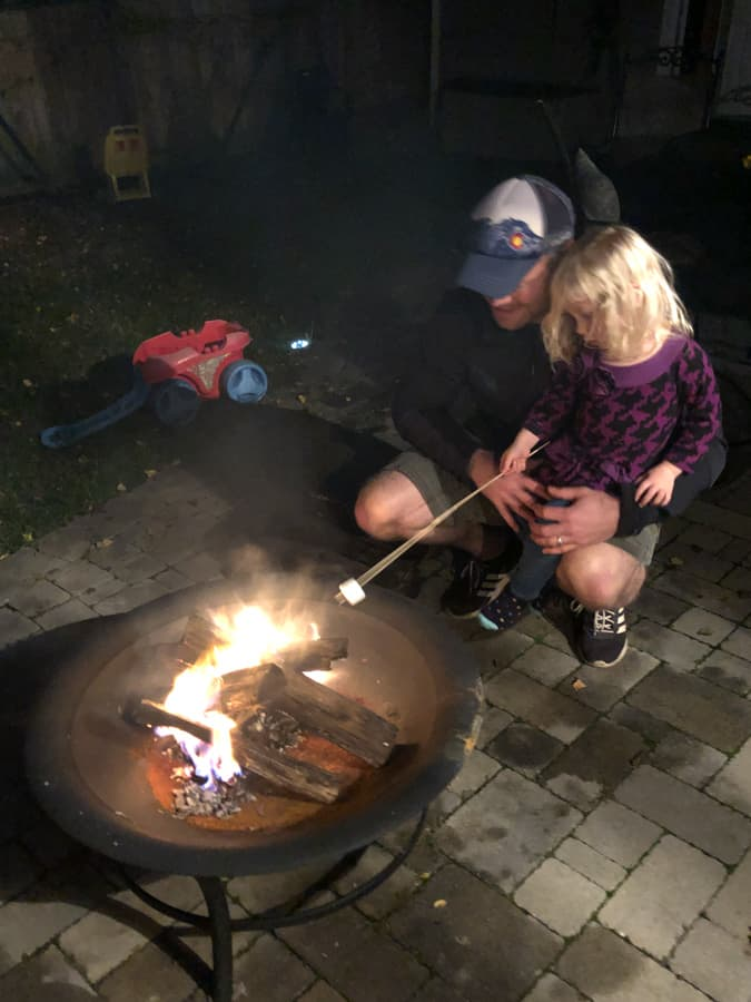 making smores over a fire pit