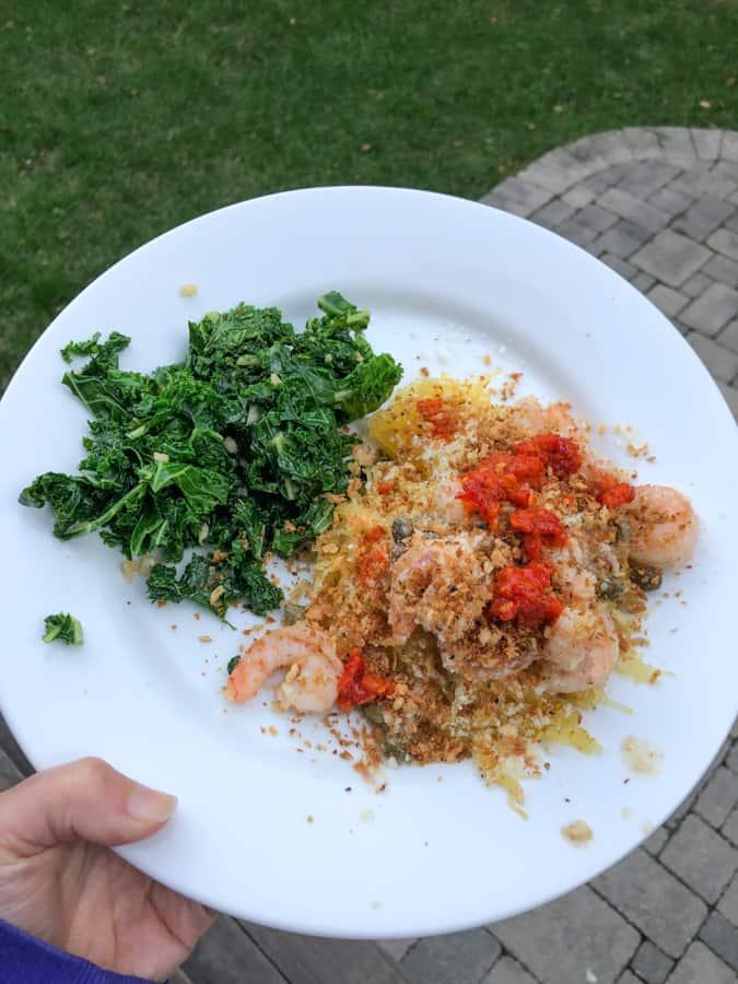 shrimp with spaghetti squash and kale