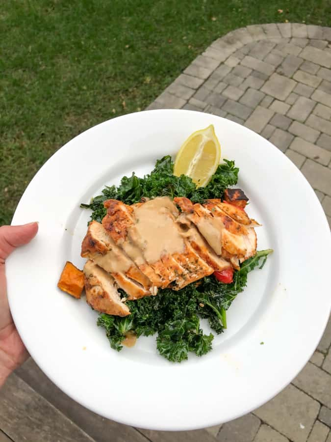 chicken with kale and sweet potato