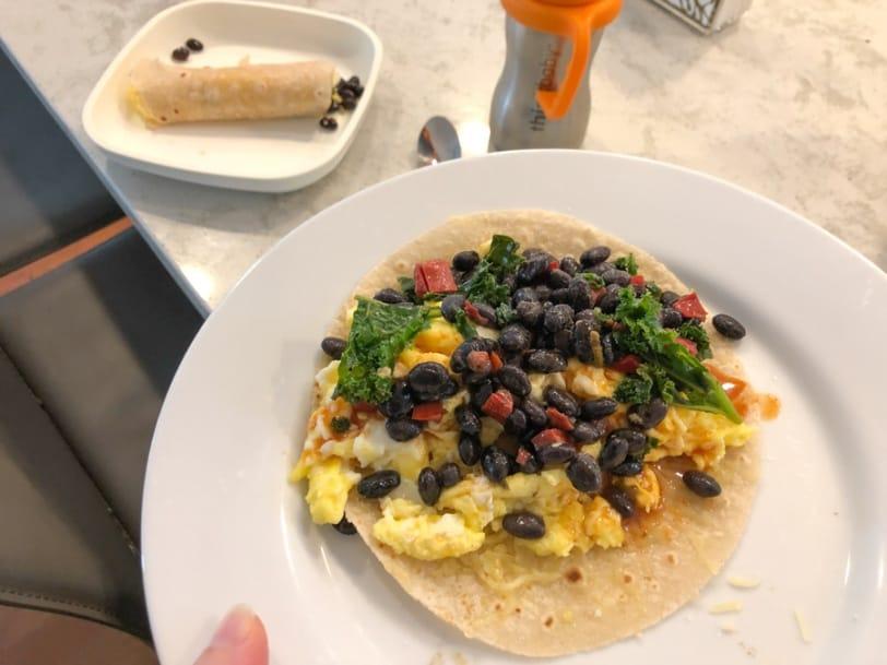 egg burritos with black beans