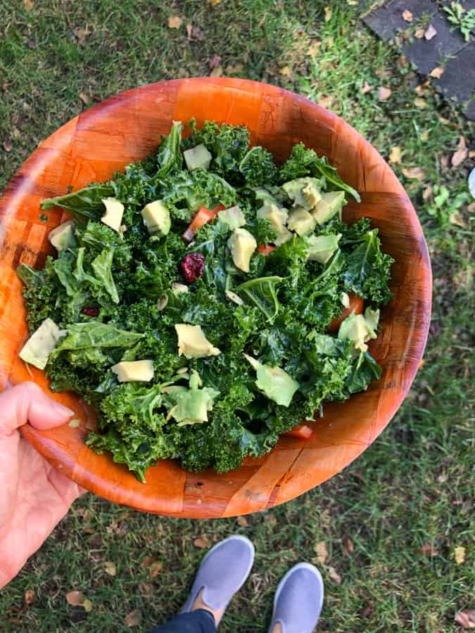 easy massage kale salad with avocado, dried cranberry, pumpkin seeds, and red pepper