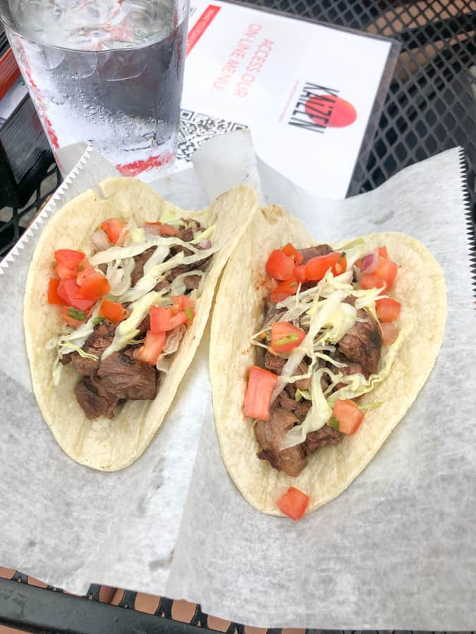 steak tacos at kaizen del ray