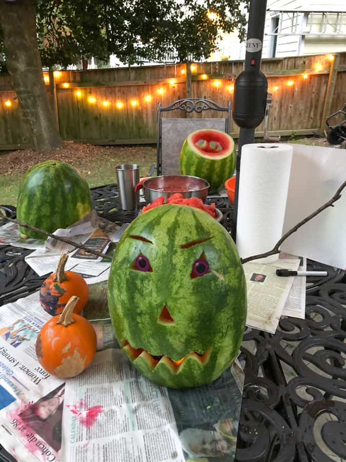 watermelon carved into halloween ghoul