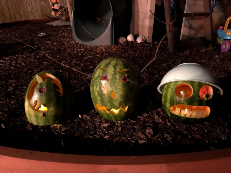carved watermelons lit up