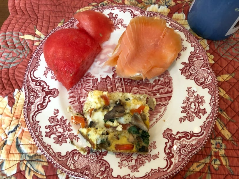 veggie frittata with smoked salmon bagel and watermelon