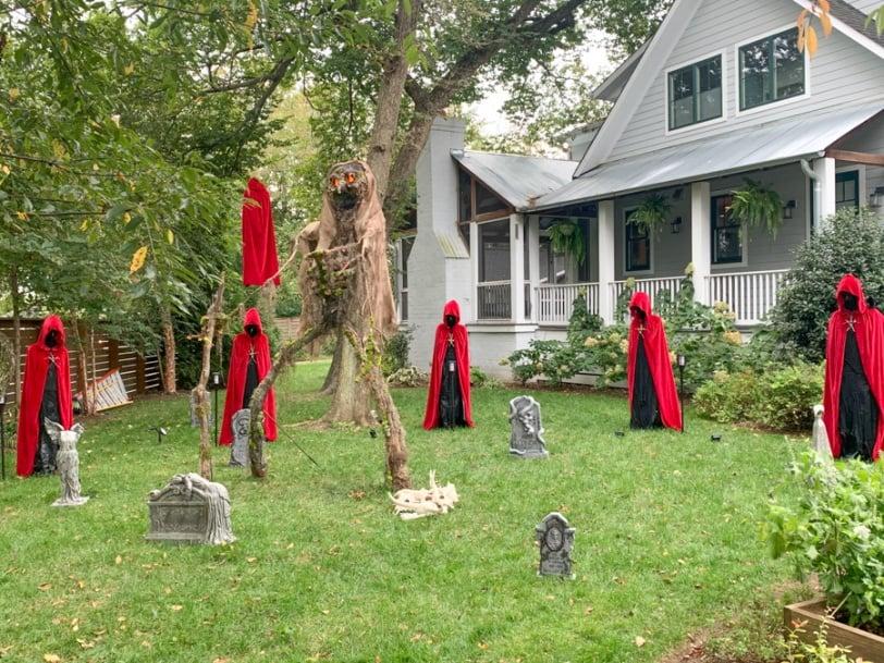 creepy handmaids tale like halloween decorations