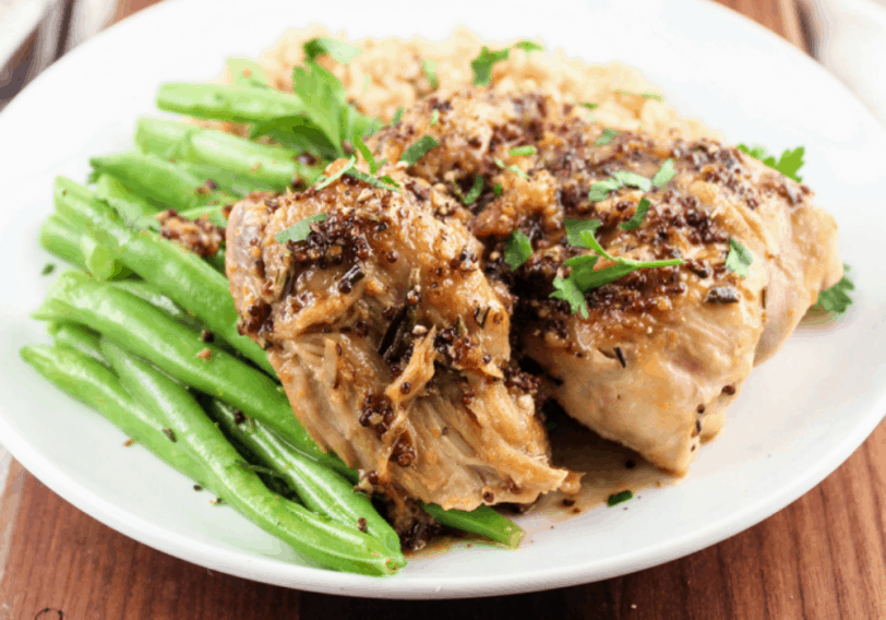 Instant Pot Chicken with Mustard and Maple Sauce