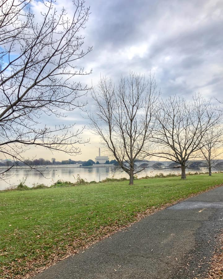 view of DC from mt vernon trail in Arlington