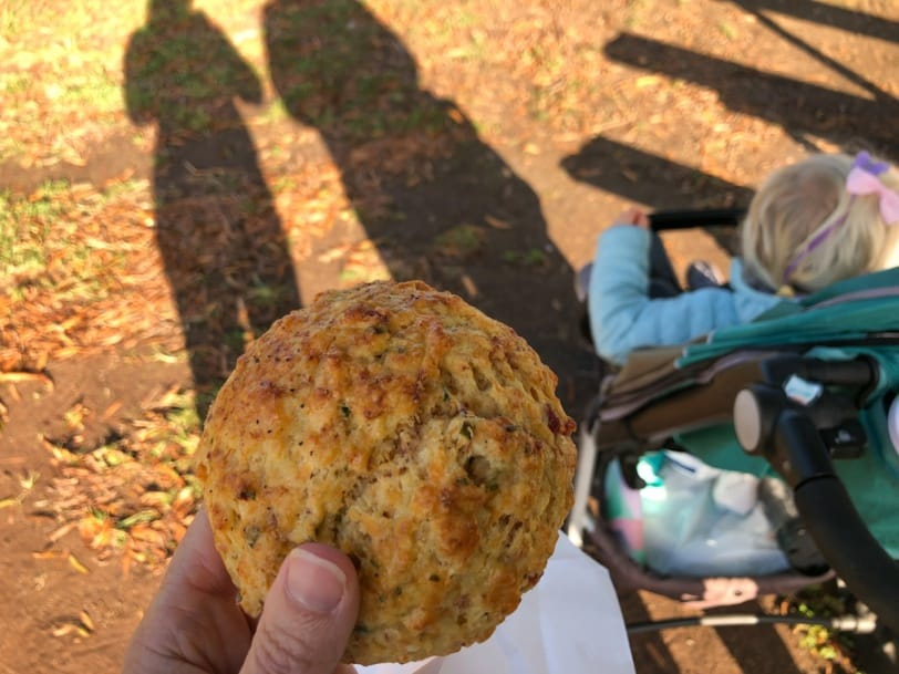 bacon cheddar chive scone from swings coffee