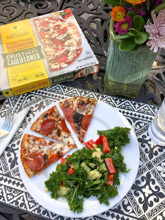 cpk pepperoni pizza, kale salad