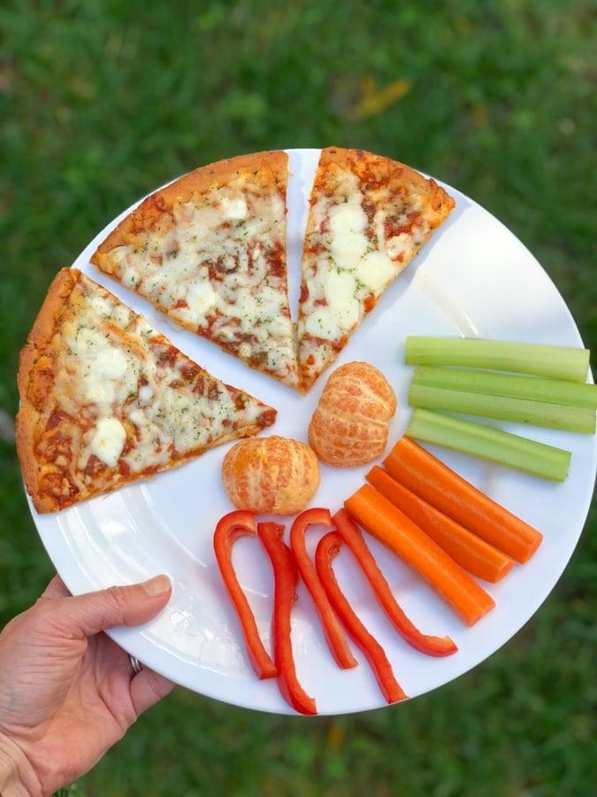 CPK cheese pizza, veggies, fruit