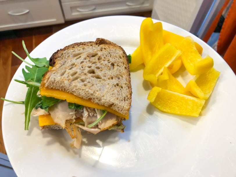 turkey and cheddar sandwich with yellow bell pepper