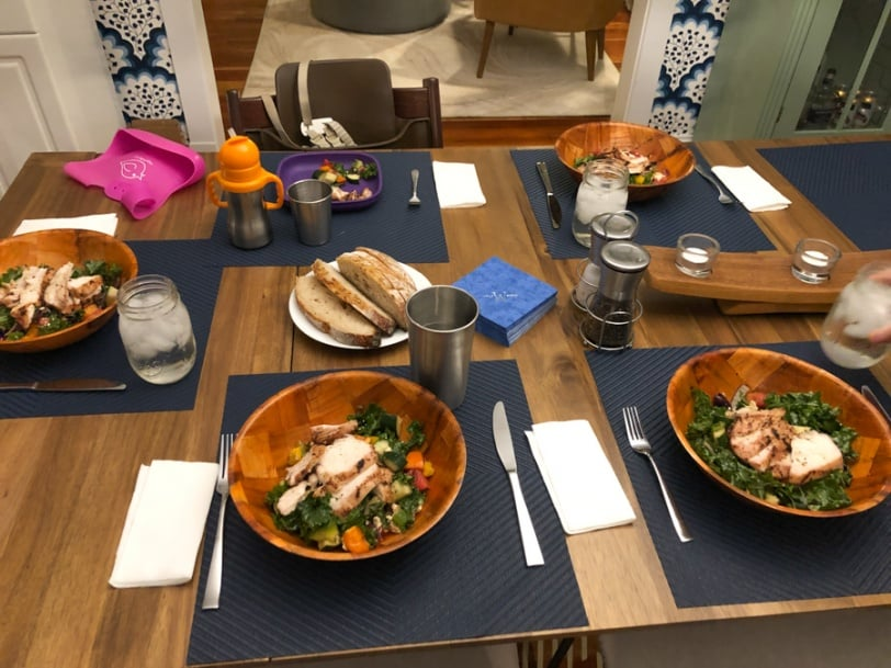 greek salads with watermelon chicken and bread
