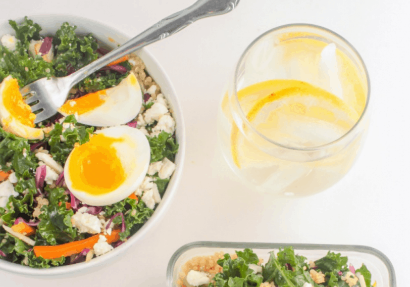 quinoa salad with soft-boiled eggs