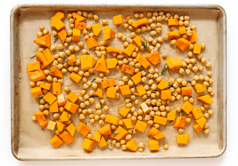 roasted butternut squash and chickpeas on a sheet pan