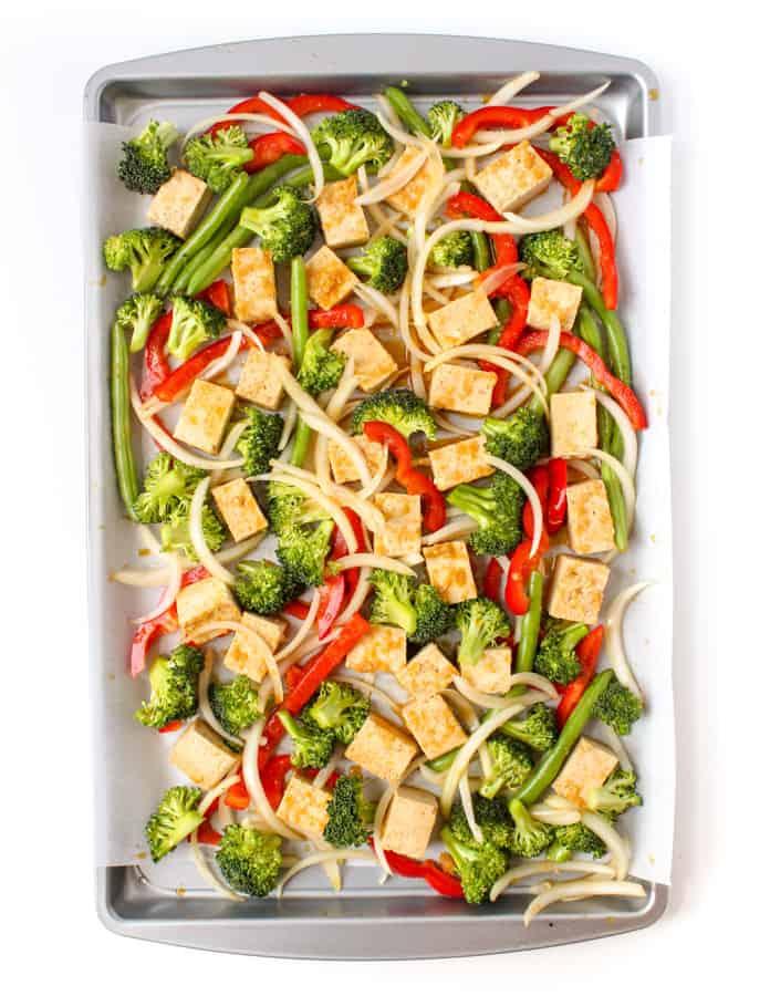 sheet pan ginger tofu