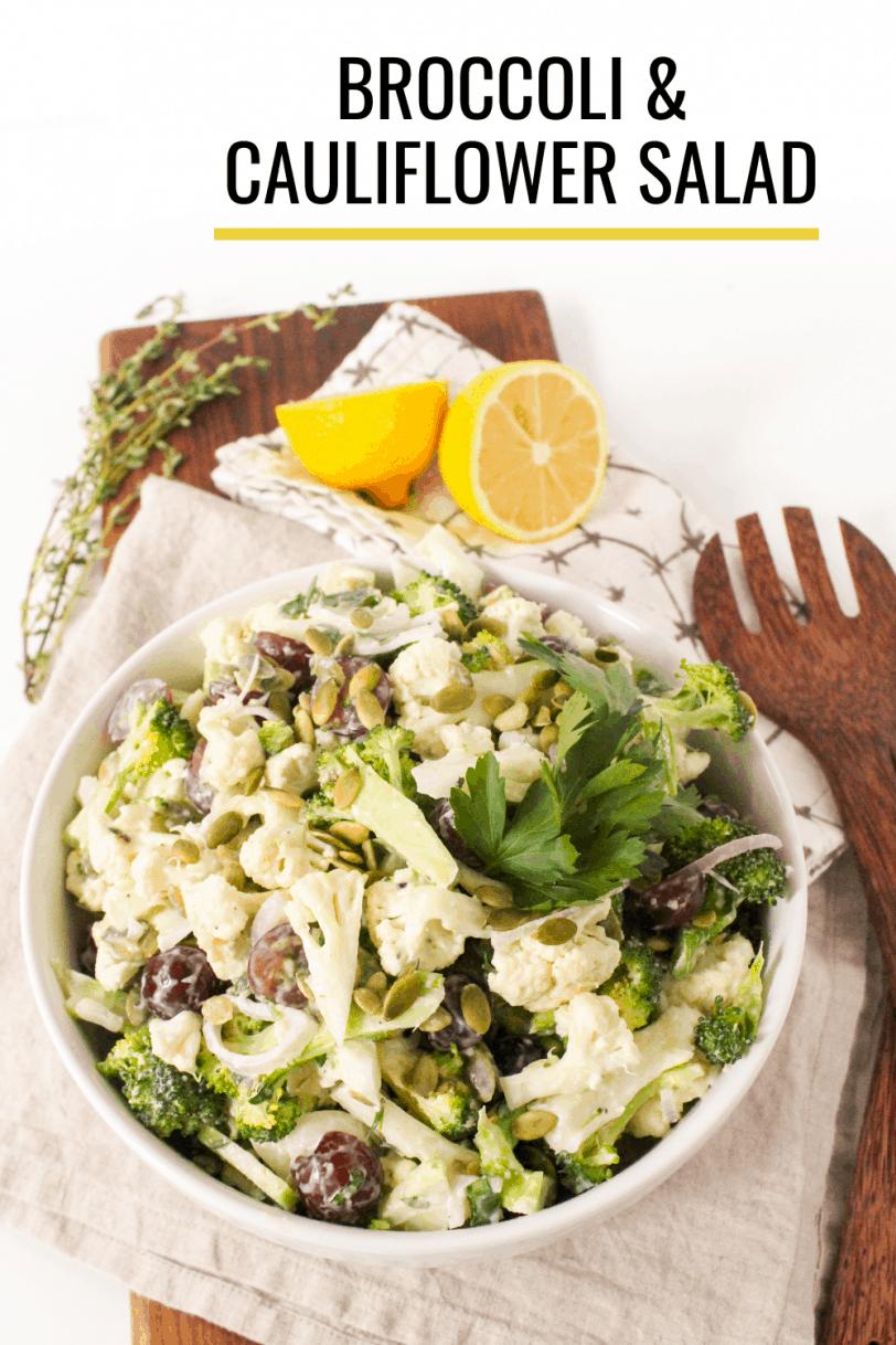 crunchy broccoli cauliflower salad