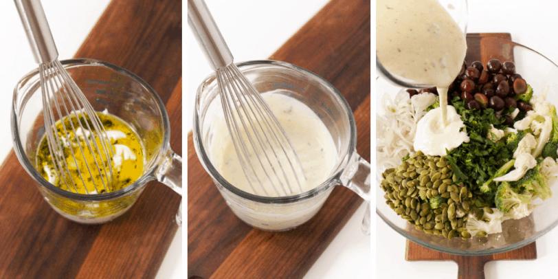 process steps for whisking homemade yogurt dressing