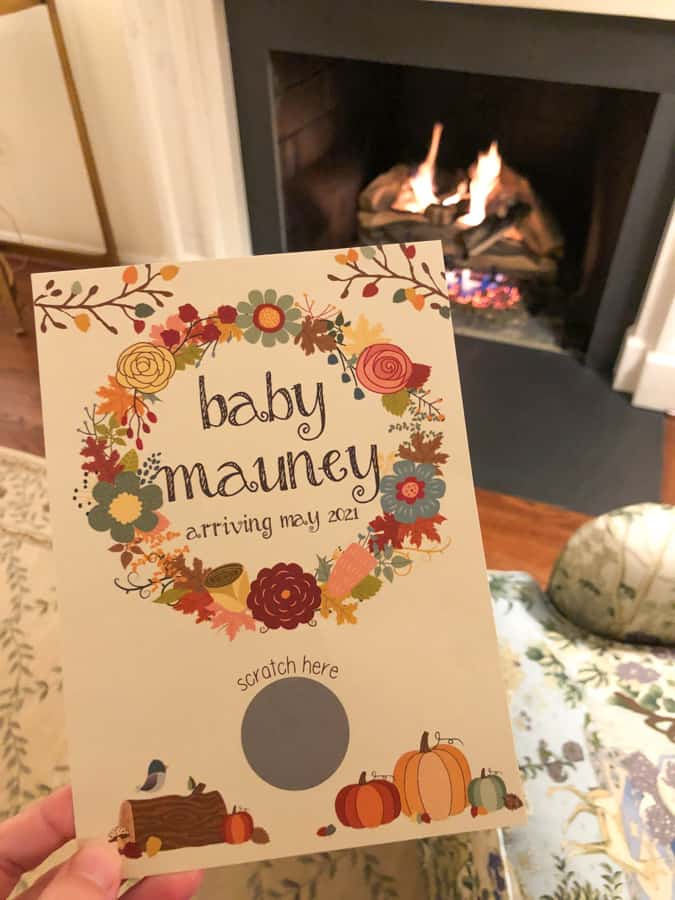 fall themed baby gender reveal scratch off card