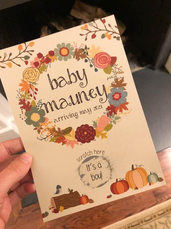 fall scratch off gender reveal cute card