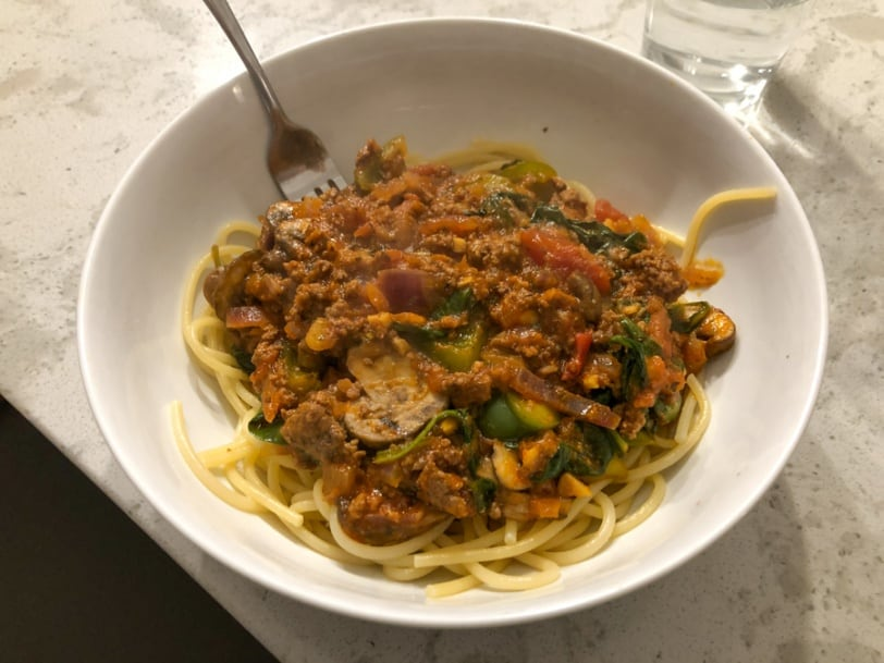 spaghetti bolognese with beef and veggies